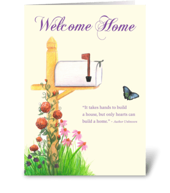 New Home with Mailbox & flowers greeting card