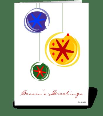 Three Christmas Bulbs Christmas Card greeting card