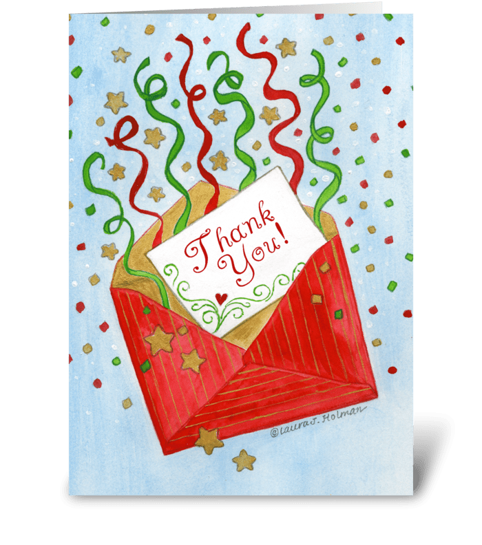 christmas gift red envelope thank you send this greeting card