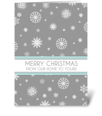 Grey Aqua Snowflakes Christmas Card greeting card