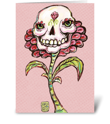 Skull Flower greeting card