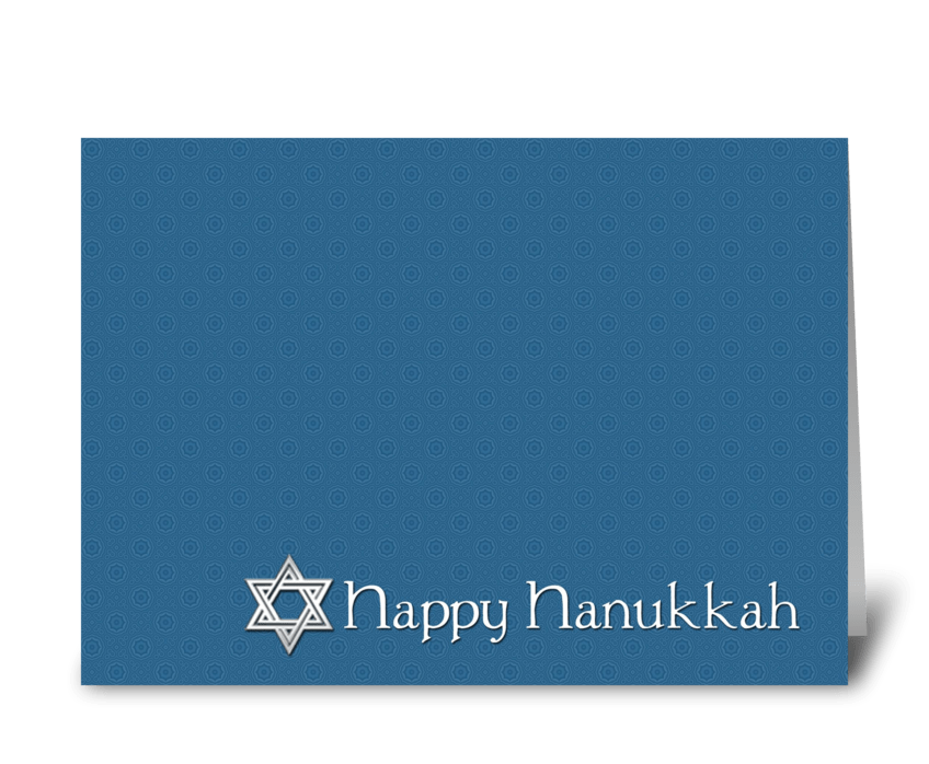 Happy Hanukkah, Star of David, Blue greeting card