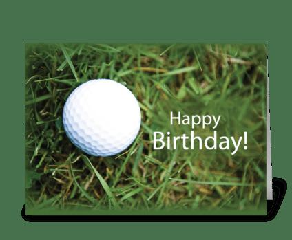 Happy Birthday Golf Ball in Grass greeting card