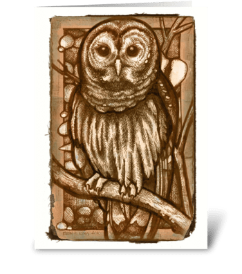 """Hoo"" Cooks Your Dinner greeting card"