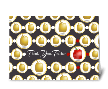 Red and Golden Apples - Teacher Thank Yo greeting card
