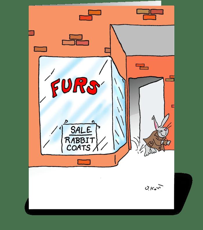 Rabbit Coats greeting card