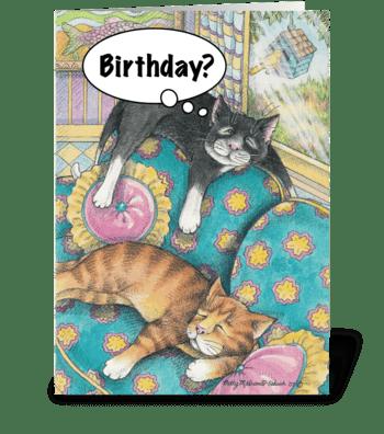 Sofa Napping Cats #5 greeting card