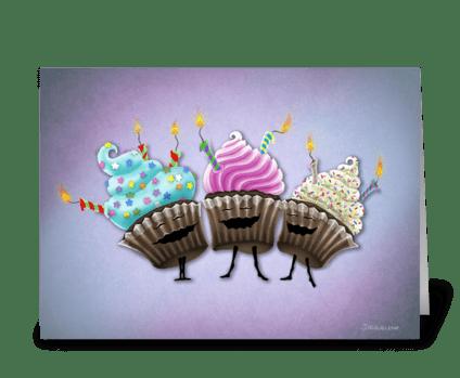 Cupcake Trio greeting card
