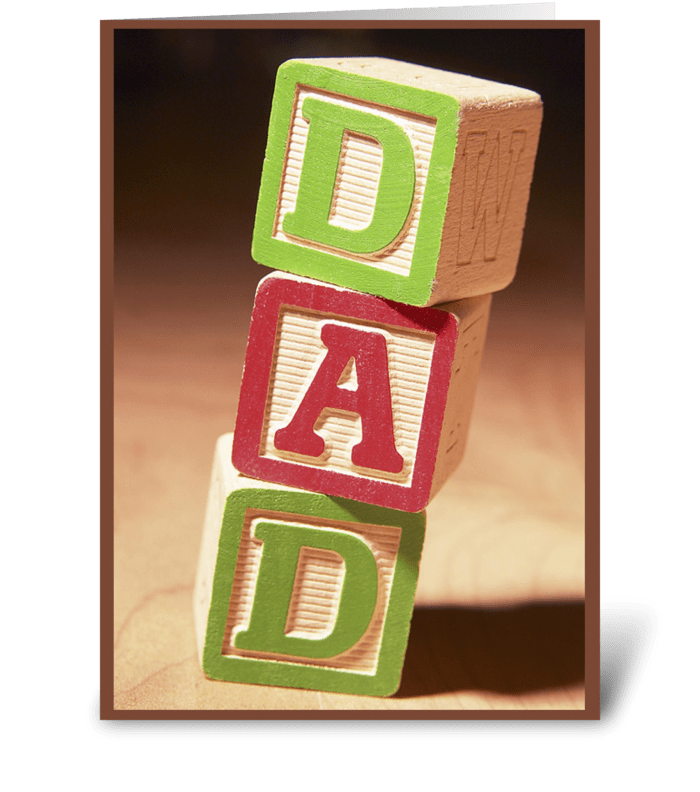 Happy Father's Day Dad on Blocks greeting card