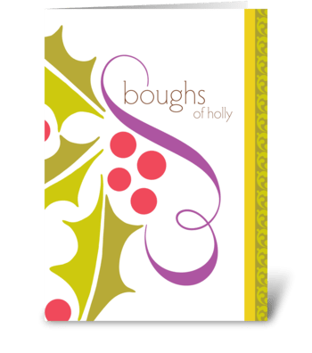 boughs of holly greeting card