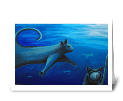 School of Cats greeting card