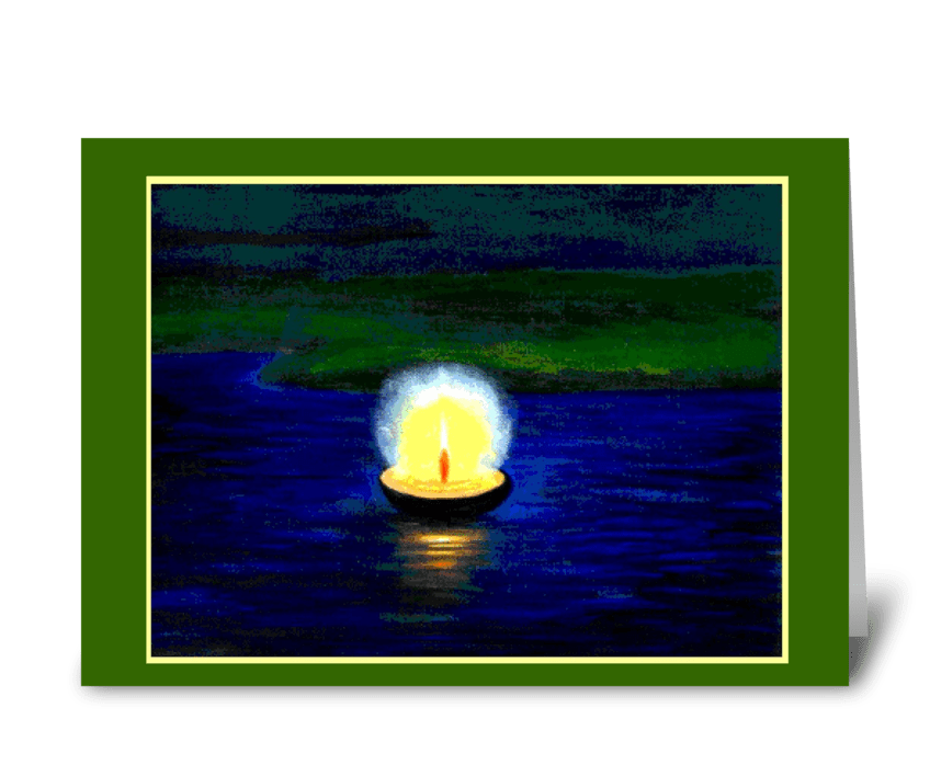 Diwali Floating Single Candle greeting card