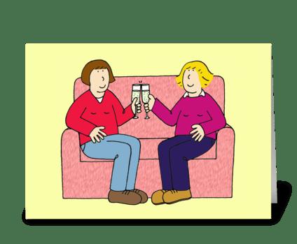 Lesbian Anniversary Congratulations! greeting card