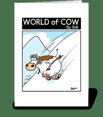 Cow Skiing greeting card