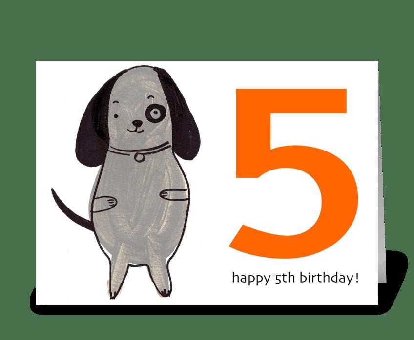 Dog Happy Fifth Birthday greeting card
