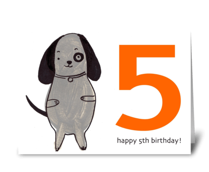 Dog Happy Fifth Birthday greeting card