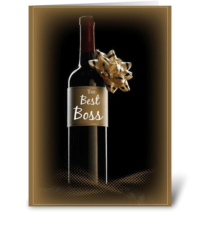 Boss's Day Wine Bottle With Bow greeting card