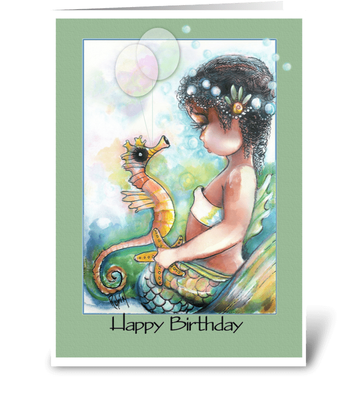 Mermaid and Seahorse, BIRTHDAY greeting card