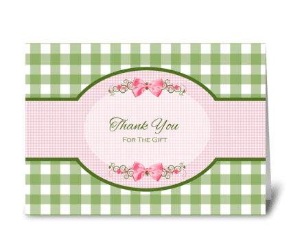 Thank You For Gift Girly Green Gingham greeting card
