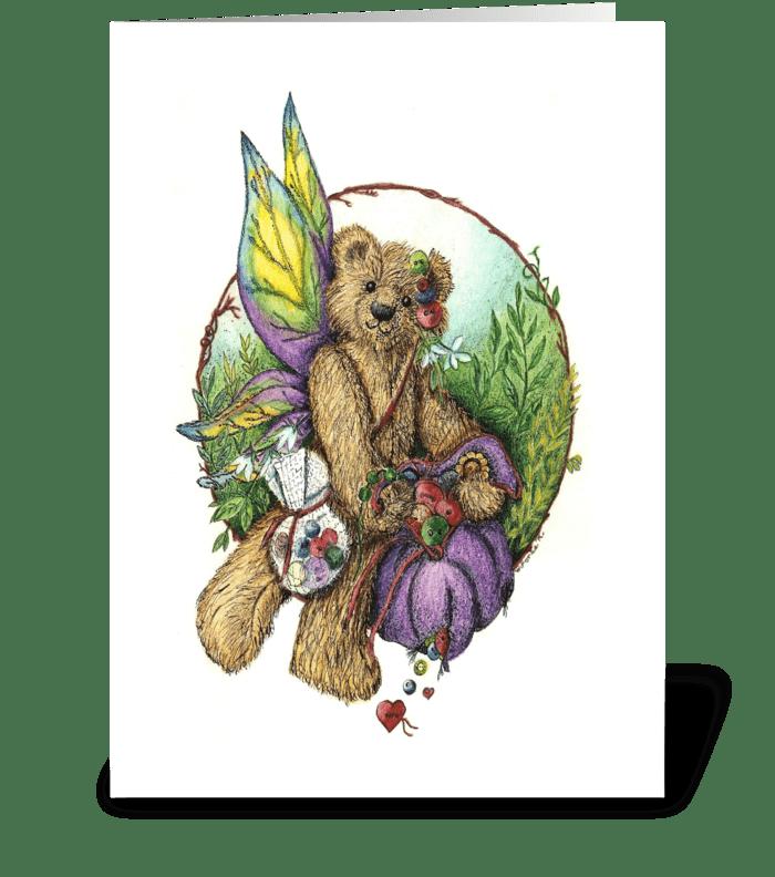 Button Teddy Bear Fairy greeting card