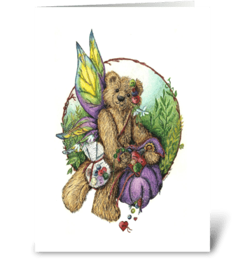Button Teddy Bear Fairy greeting card