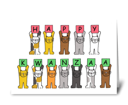 Happy Kwanzaa cute cartoon cats. greeting card