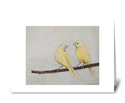 two canaries greeting card