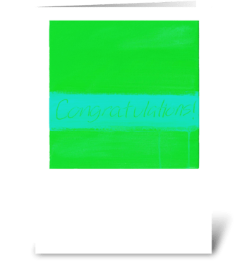 Congratulations Painting-Green & Blue greeting card