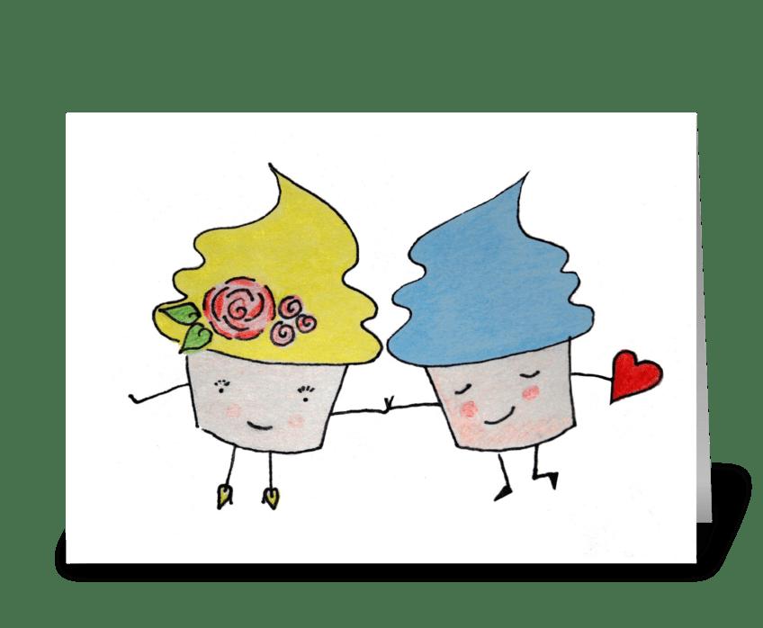 Blushing Cupcake Valentine greeting card