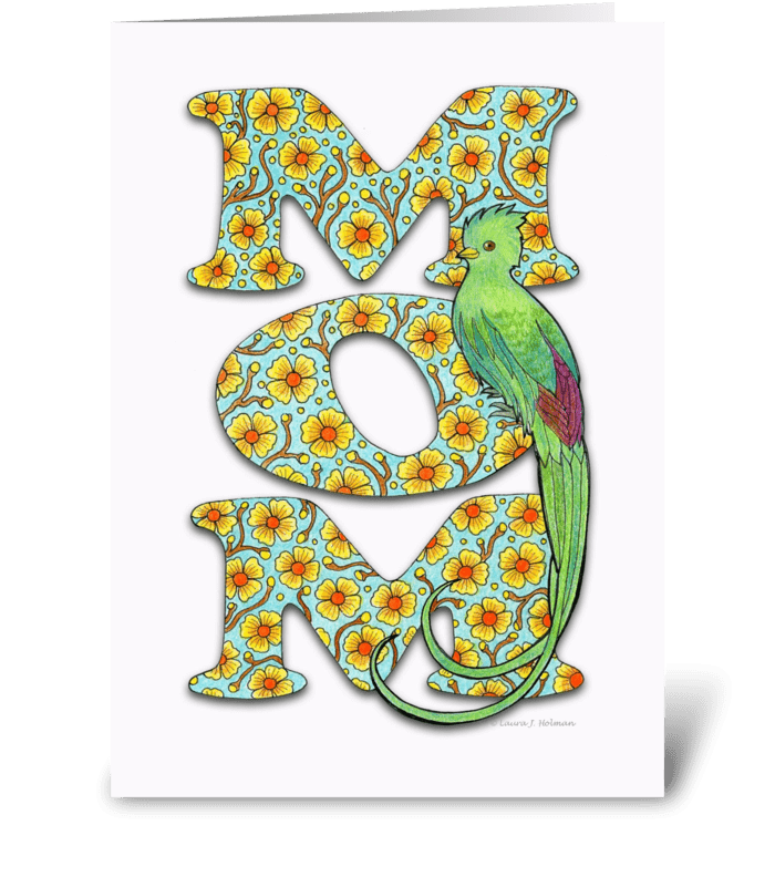 """Mother's Day """"MOM"""" with Quetzal Bird greeting card"""