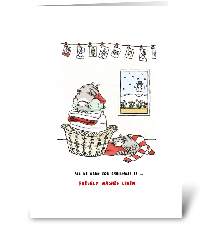 Merry Christmas - Cats Want Clean Linen greeting card