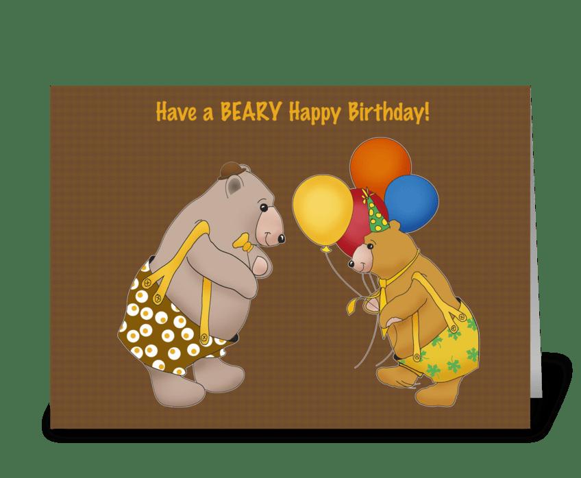 Beary Happy Birthday. greeting card