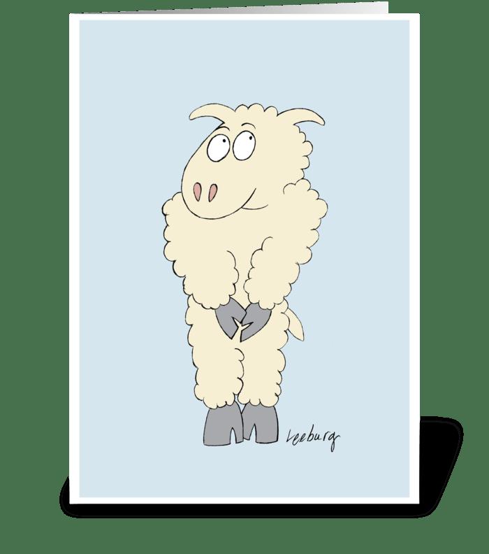Sheepish Birthday greeting card