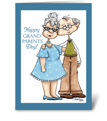Grandparents Day-Cute Elderly Couple greeting card