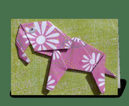 Pink Elephant greeting card