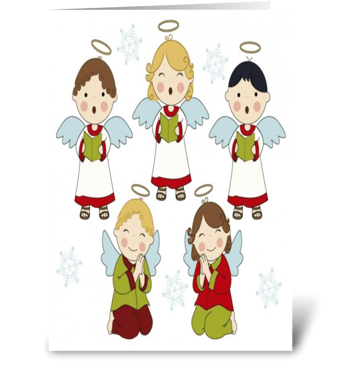 singing angels greeting card