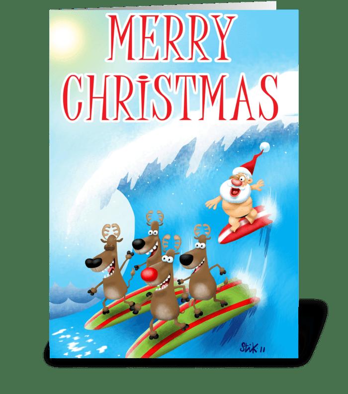 Santa Surfin' greeting card