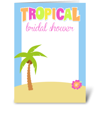 Tropical Palm Tree Bridal Shower  greeting card