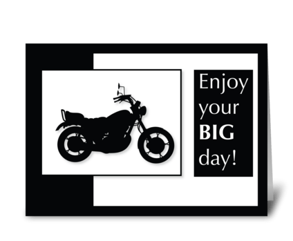 Motorcycle Birthday Black & White greeting card