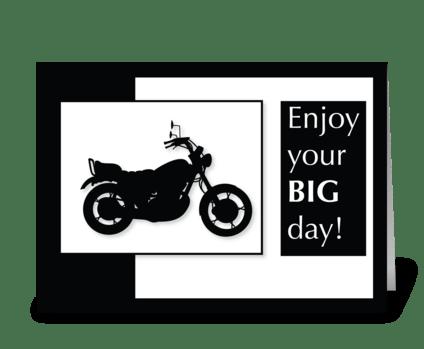 Motorcycle Birthday Black & White greeting card