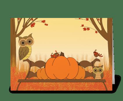 Pumpkin Owls greeting card