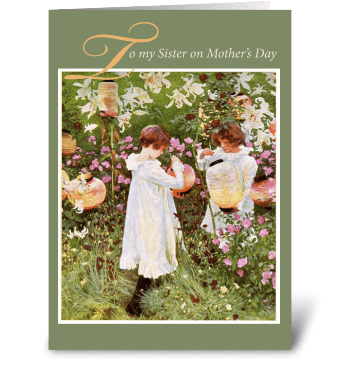 To Sister on Mother's Day, Vintage Girls greeting card