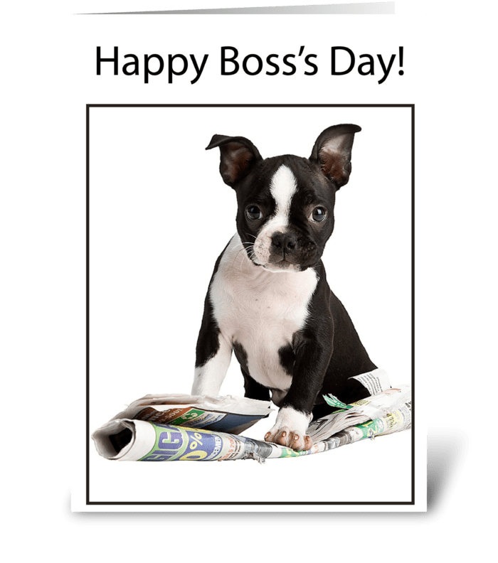 Boss's Day Dog with Newspaper greeting card