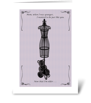 Mother's Day Purple Bear greeting card