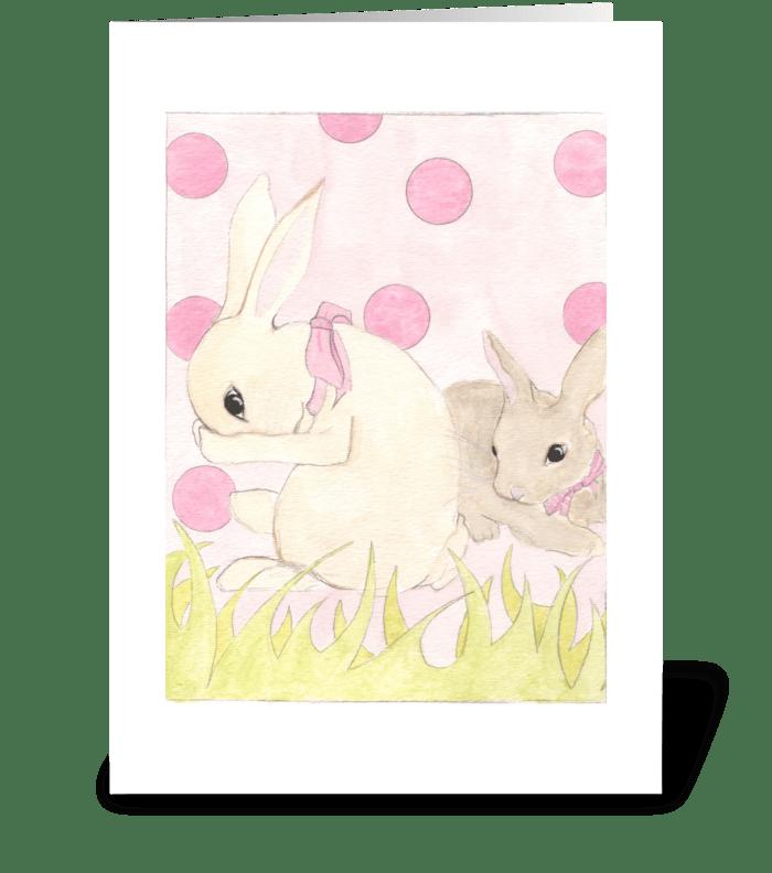 Polka Dot Bunnies greeting card