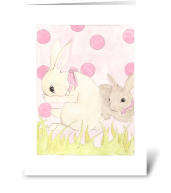 Polka Dot Bunnies greeting card
