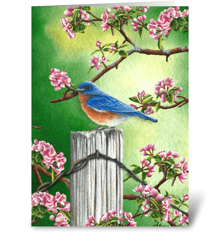 Bluebird in spring send this greeting card designed by daydreams bluebird in spring greeting card m4hsunfo