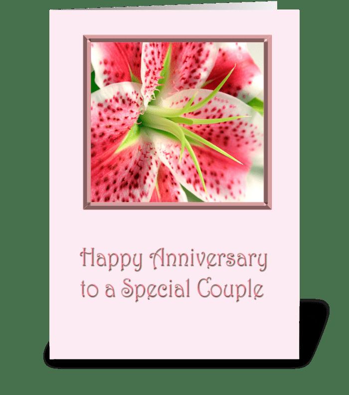 Anniversary Stargazer Lily greeting card
