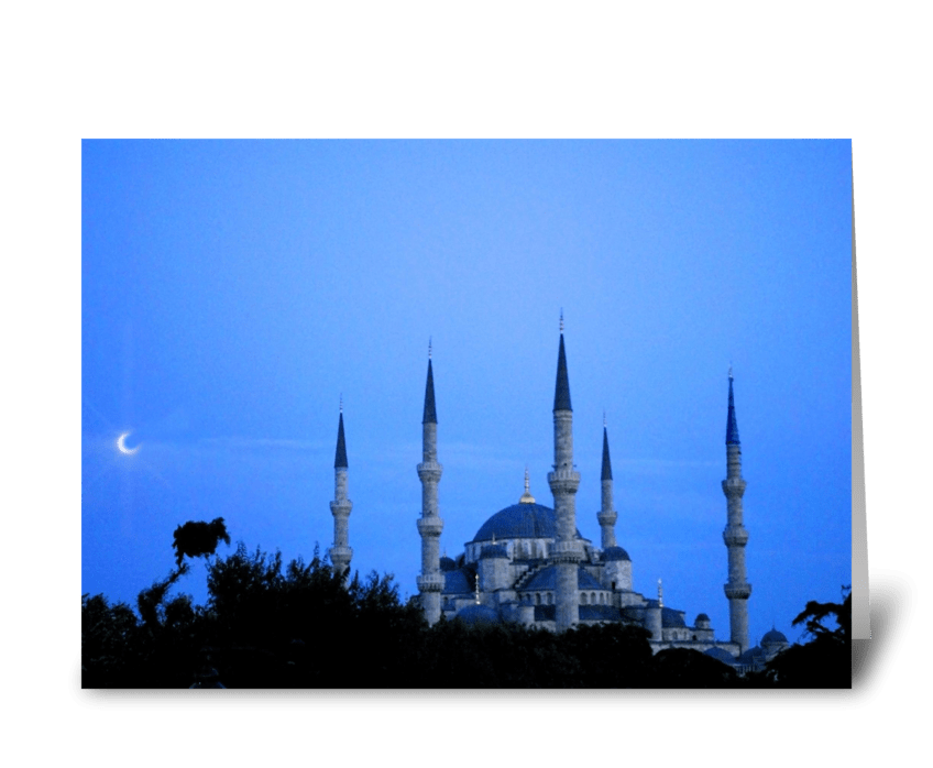 Blue Mosque with Moon greeting card