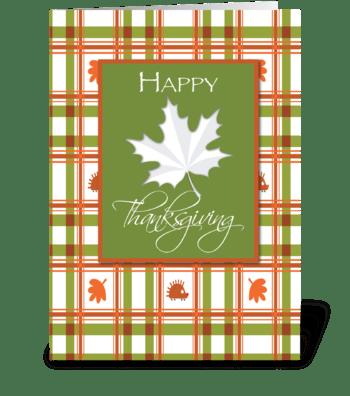 Happy Thanksgiving, Leaf on Plaid greeting card